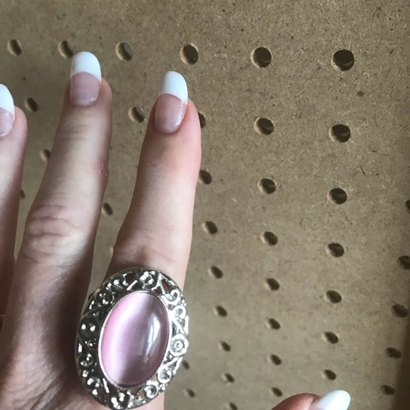 Large pink moonstone ring w/silver floral border